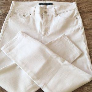Lauren Ralph Lauren White Denim Ankle Jeans